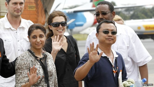 Released foreign aid workers