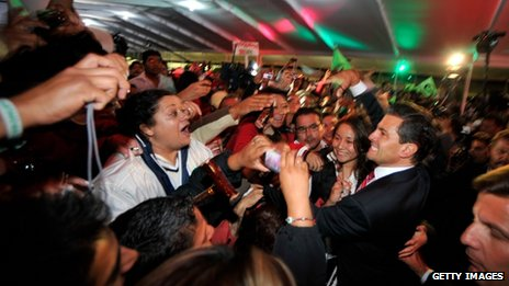 Enrique Pena Nieto greeting PRI supporters (1 July)