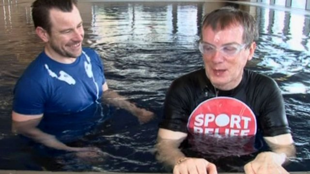 Frank Skinner overcame his fear of water for a Big Splash Sport Relief challenge