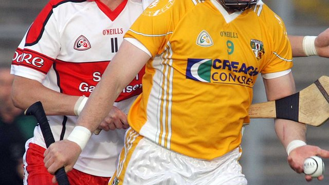 Match action from Derry against Antrim