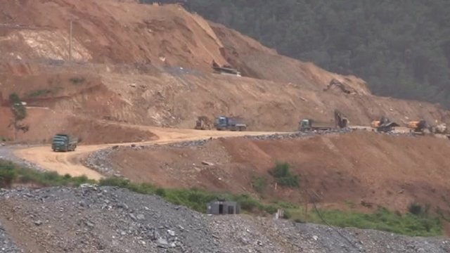 Construction of a dam on the Mekong river