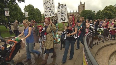 Breast feeding mothers protesting at a Bristol cafe