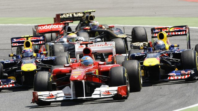 Alonso, Vettel, Webber compete during the Spanish F1 Grand Prix, Montmelo, May 2011