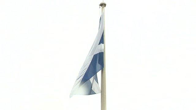 Scottish Saltire above Downing Street