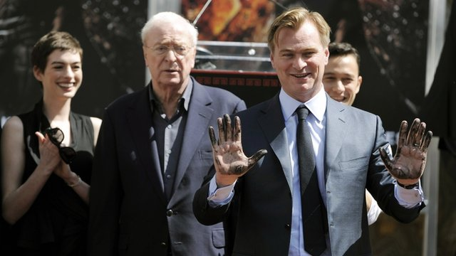 Anne Hathaway, Michael Caine, Christopher Nolan and Joseph Gordon-Levitt