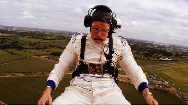 The F1 commentary team get an aerial view of Silverstone.