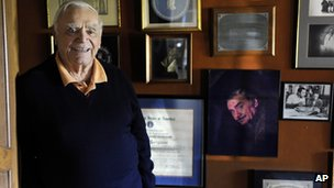 Ernest Borgnine poses for a portrait at his home in Beverly Hills