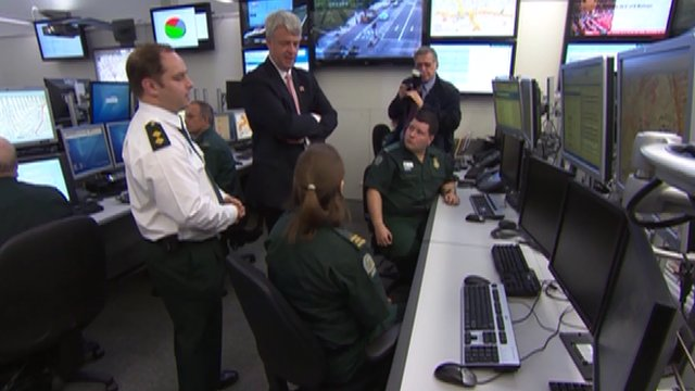 Andrew Lansley at London Ambulance control room in Bow