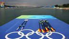 Oars have been lined-up on a jetty on the rowing course during the Beijing Olympics in 2008