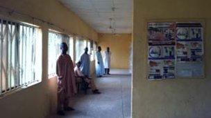 Corridor in basic clinic in African village