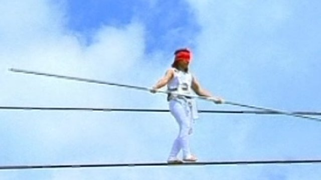 Chinese tightrope walker Aisikaier