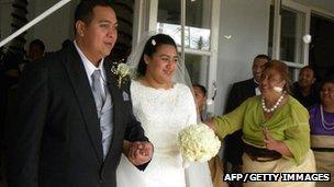Crown Prince Tupouto'a Ulukalala and his bride Sinaitakala Fakafanua after their marriage (12 July)