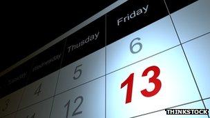 Friday 13th on calendar