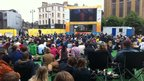 People watch on the BBC Big Screen in Edinburgh