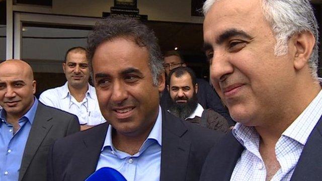 Fawaz Al-Hasawi (middle) and Abdulaziz (right)