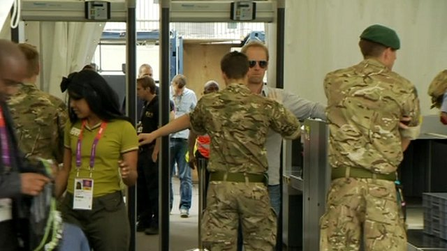 Troops carrying out security checks