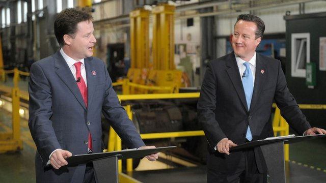 Deputy Prime Minister Nick Clegg (L) and Prime Minister David Cameron (R)