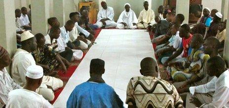 Prayers at a mosque in Bamako, Mali