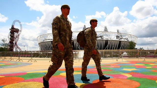 British Soldiers deployed to guard the London 2012 Olympic Games site