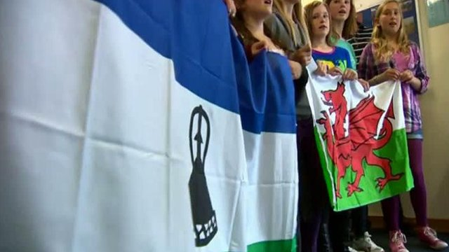 Lesotho and Welsh flags