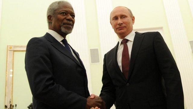 Kofi Annan and Vladimir Putin