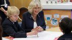 Duchess of Cornwall with children at Grainville school