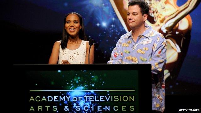 Actress Kerry Washington and TV host Jimmy Kimmel