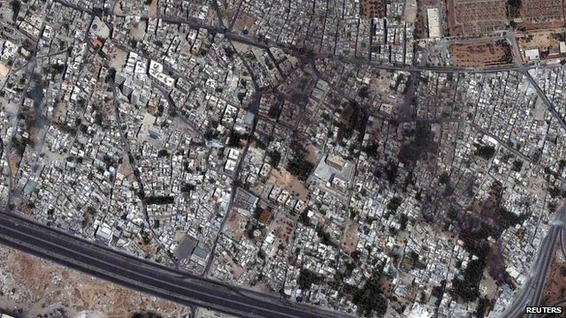 Damascus satellite image of the Qaboun district on Wednesday