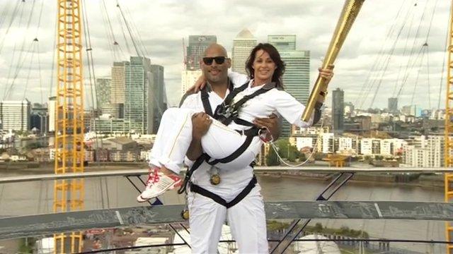 John Amaechi and Nadia Comaneci on North Greenwich Arena dome