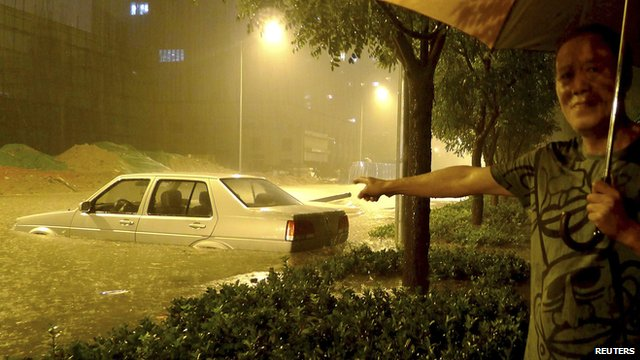 Chinese car submerged by flood