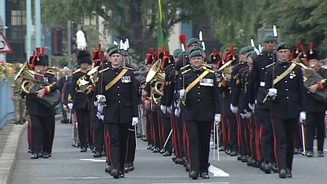 The military parade in Plymouth
