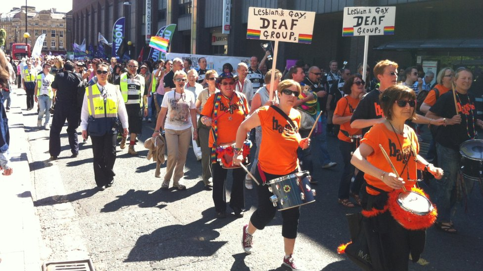 The lesbian and gay deaf group took part in the parade