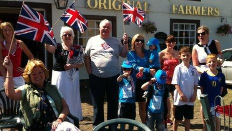 Bradley Wiggins supporters outside Original Farmers Arms pub