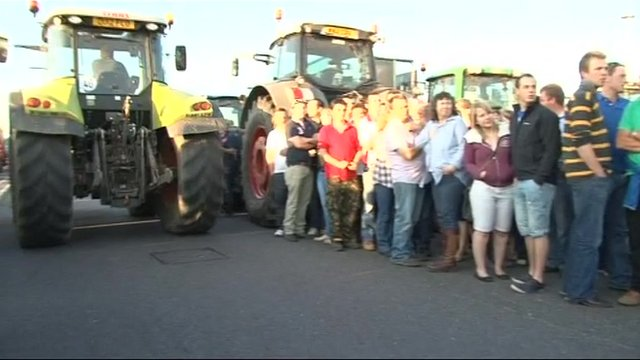 Farmers' protest at the Robert Wiseman dairy processing plant near Bridgwater, Somerset