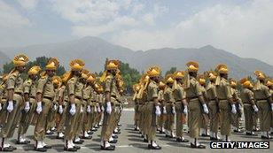 Indian police guard of honour, near Srinagar, Kashmir