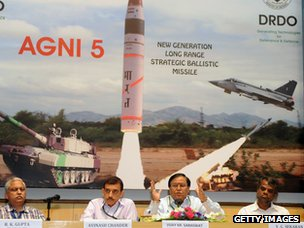 Scientist VK Saraswat (2nd from right) at press conference announcing long-range missile launch