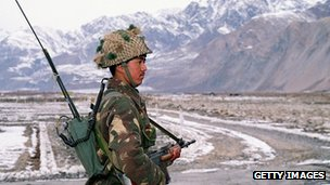 Indian soldier, Siachen glacier, amid raised tensions in 2001