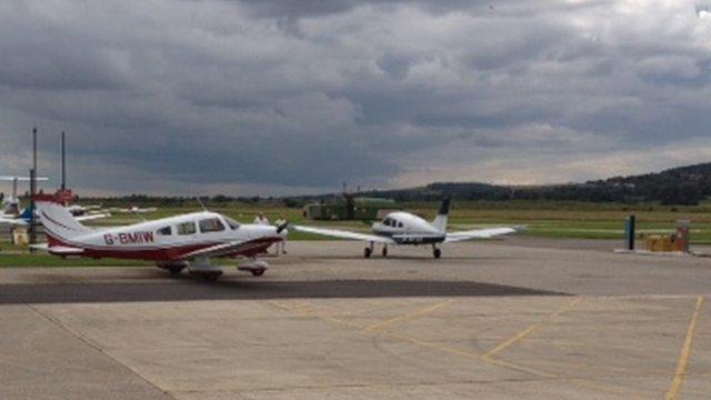 Light aircraft in Shoreham Airport, Brighton