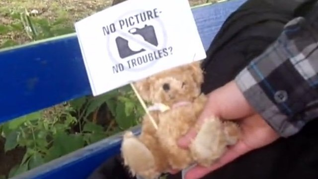 One of the teddy bears allegedly parachuted into Belarus