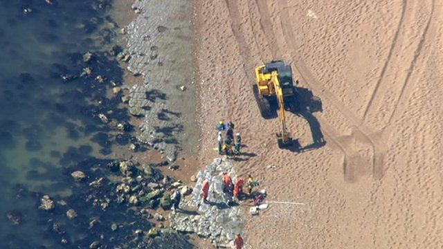 Aerial view of rescue operation