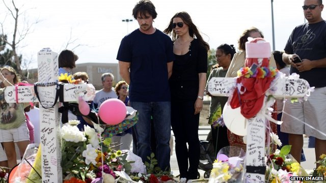 Actor Christian Bale and his wife Sandra Blazic visit the memorial