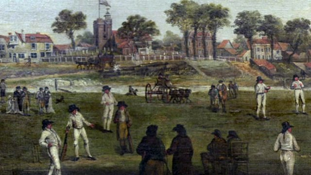 A painting detailing what Lords Cricket Ground looked like in the past