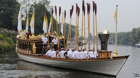 The Olympic torch on the Gloriana