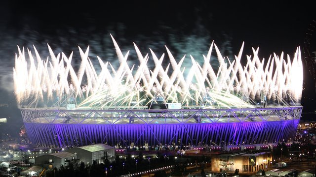Fireworks at the Olympic stadium