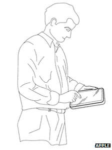 Apple drawing of man holding a tablet computer