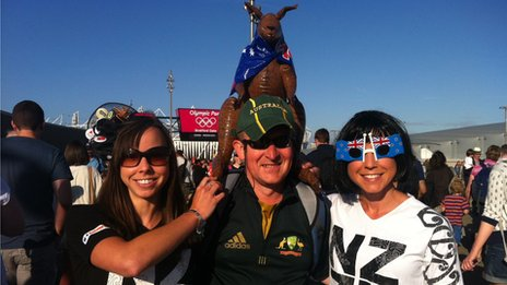 Spectators from New Zealand, Natalie Whittaker, Peter Kelly and Stephanie Whittaker