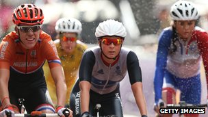 Lucy Martin of Team GB crosses the finish line during the Women's Road Race Road Cycling