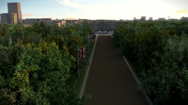 Aerial shot of the Olympic cycling time trial finishing straight on the Mall