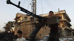 Free Syrian Army fighters in Attarib, Aleppo province. 30 July 2012