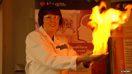 health and safety executive chair Judith Hackitt demonstrates the flaming hands experiments